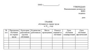 План график проведения обучения и проверки знаний по охране труда